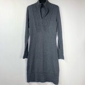 Athleta sawtooth charcoal gray sweater dress. S
